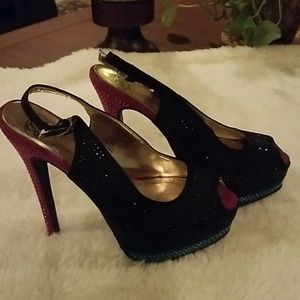 *Black, Pink & Teal Peep Toe Pumps, Size 6.5